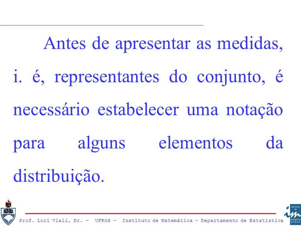 Antes de apresentar as medidas, i. é, representantes do conjunto, é necessário estabelecer uma notação para alguns elementos da distribuição.