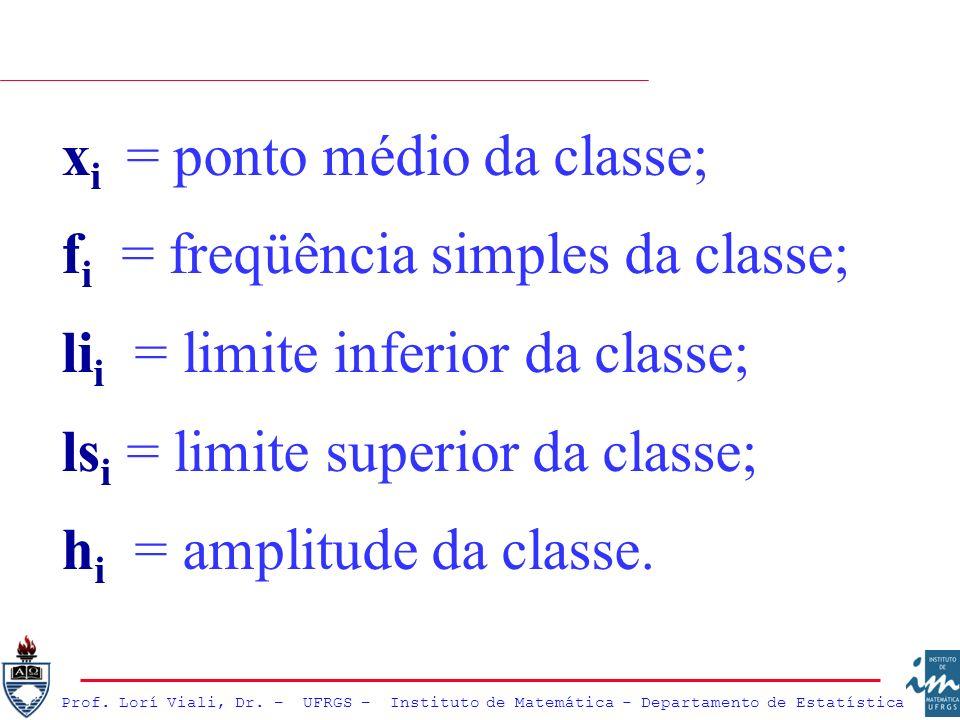 x i = ponto médio da classe; f i = freqüência simples da classe; li i = limite inferior da classe; ls i = limite superior da classe; h i = amplitude d