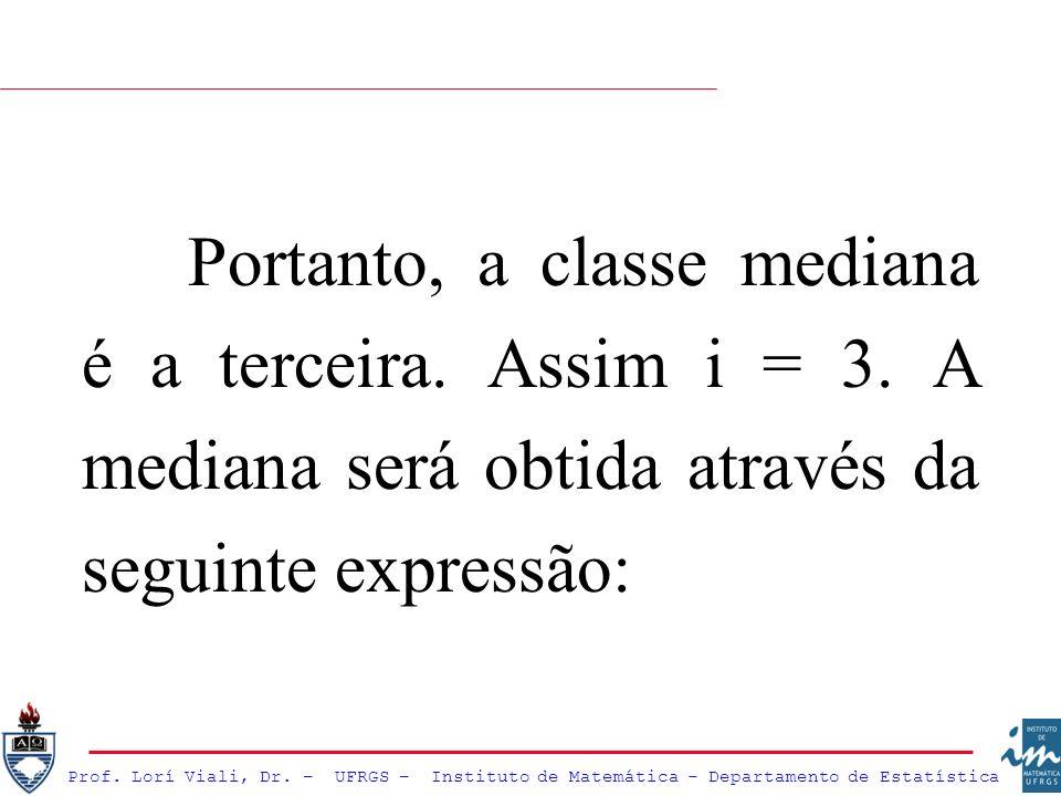 Prof. Lorí Viali, Dr. – UFRGS – Instituto de Matemática - Departamento de Estatística Portanto, a classe mediana é a terceira. Assim i = 3. A mediana