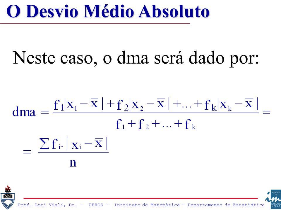 Prof. Lorí Viali, Dr. – UFRGS – Instituto de Matemática - Departamento de Estatística Neste caso, o dma será dado por: O Desvio Médio Absoluto