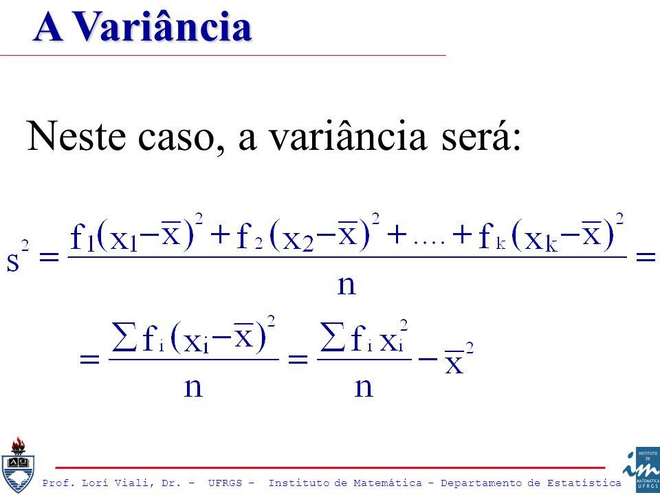Prof. Lorí Viali, Dr. – UFRGS – Instituto de Matemática - Departamento de Estatística Neste caso, a variância será: A Variância