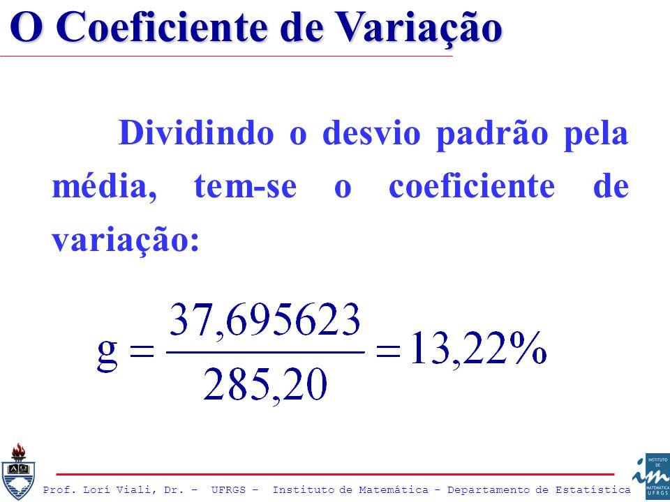 Prof. Lorí Viali, Dr. – UFRGS – Instituto de Matemática - Departamento de Estatística Dividindo o desvio padrão pela média, tem-se o coeficiente de va