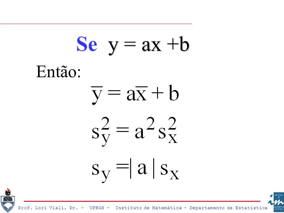 Então: y = ax +b Se y = ax +b