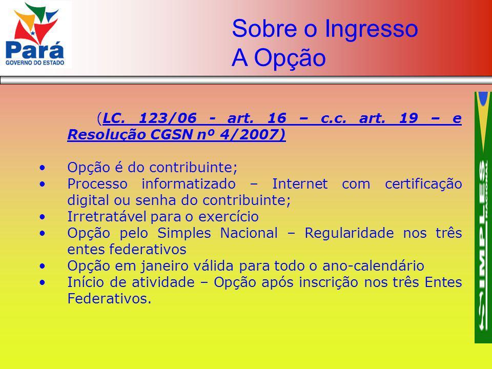(LC. 123/06 - art. 16 – c.c. art. 19 – e Resolução CGSN nº 4/2007) Opção é do contribuinte; Processo informatizado – Internet com certificação digital