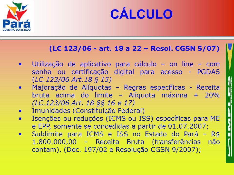 (LC 123/06 - art. 18 a 22 – Resol. CGSN 5/07) Utilização de aplicativo para cálculo – on line – com senha ou certificação digital para acesso - PGDAS