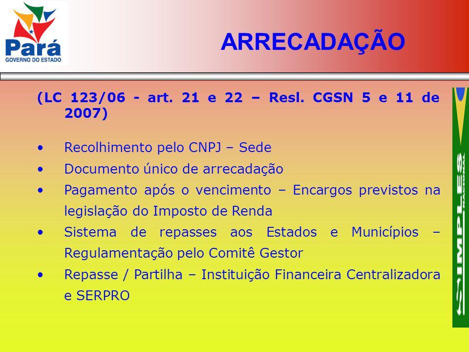 (LC 123/06 - art. 21 e 22 – Resl. CGSN 5 e 11 de 2007) Recolhimento pelo CNPJ – Sede Documento único de arrecadação Pagamento após o vencimento – Enca
