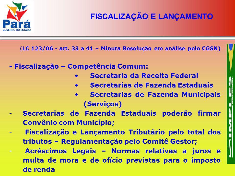 (LC 123/06 - art. 33 a 41 – Minuta Resolução em análise pelo CGSN) - Fiscalização – Competência Comum: Secretaria da Receita Federal Secretarias de Fa