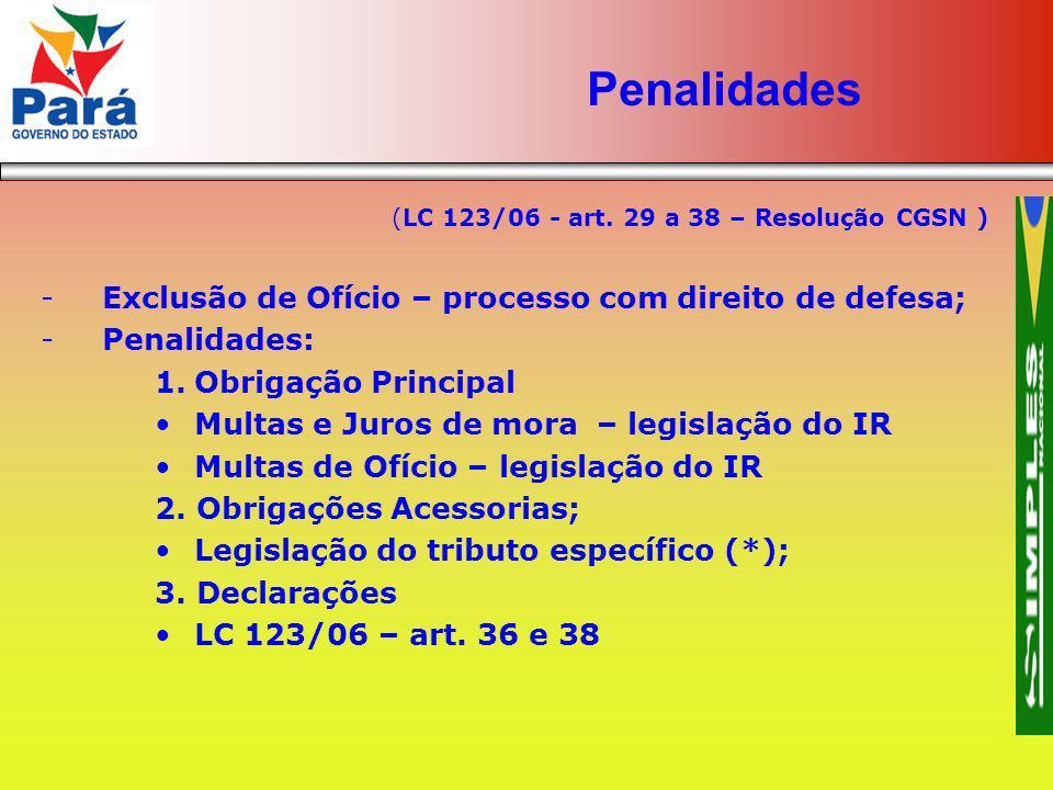(LC 123/06 - art. 29 a 38 – Resolução CGSN ) -Exclusão de Ofício – processo com direito de defesa; -Penalidades: 1.Obrigação Principal Multas e Juros
