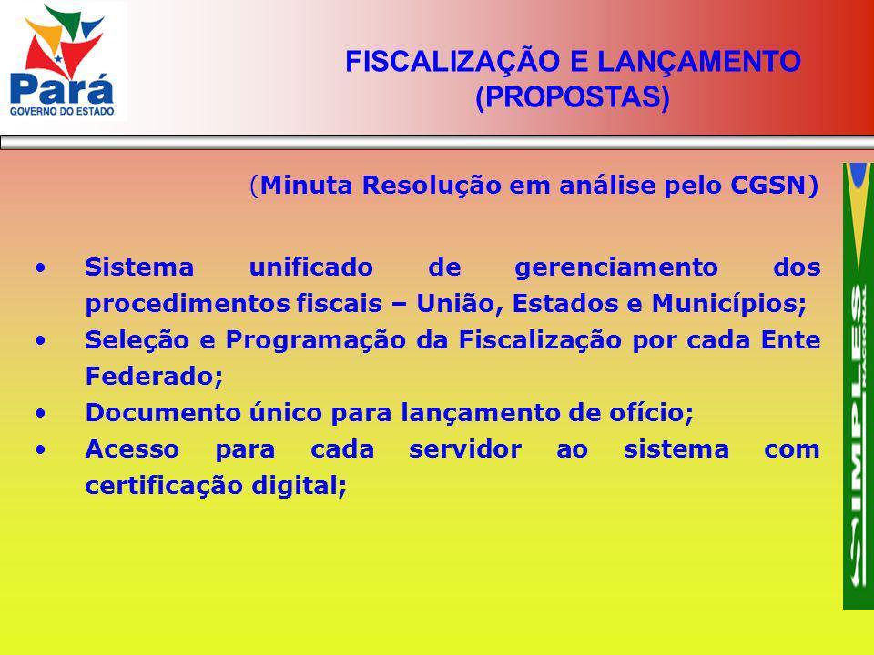 (Minuta Resolução em análise pelo CGSN) Sistema unificado de gerenciamento dos procedimentos fiscais – União, Estados e Municípios; Seleção e Programa