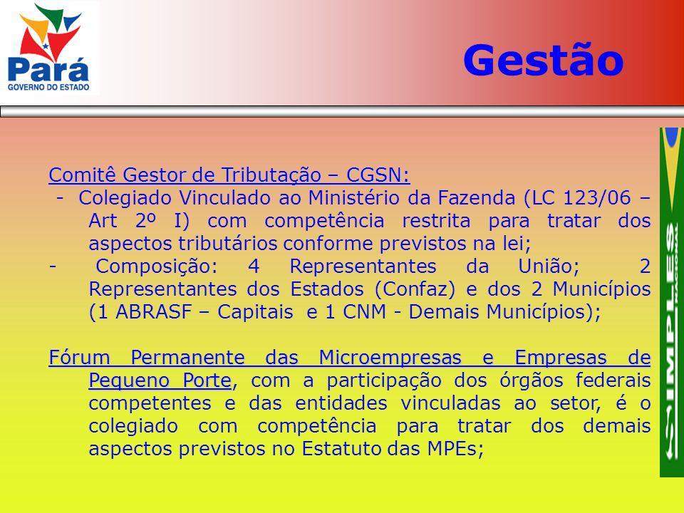 Comitê Gestor de Tributação – CGSN: - Colegiado Vinculado ao Ministério da Fazenda (LC 123/06 – Art 2º I) com competência restrita para tratar dos asp