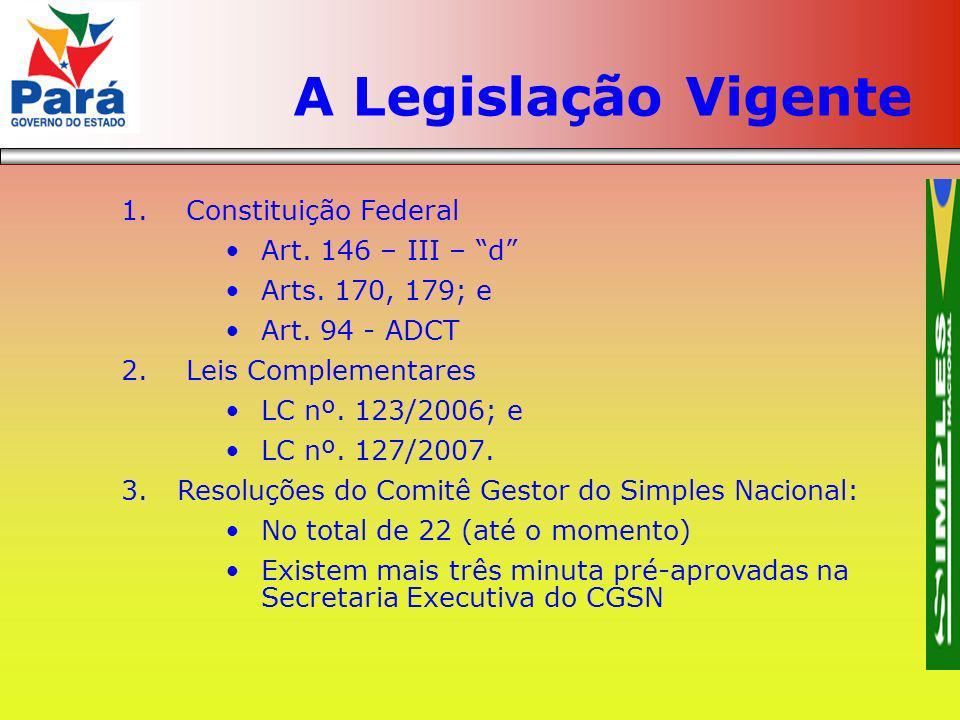 1. Constituição Federal Art. 146 – III – d Arts. 170, 179; e Art. 94 - ADCT 2. Leis Complementares LC nº. 123/2006; e LC nº. 127/2007. 3.Resoluções do