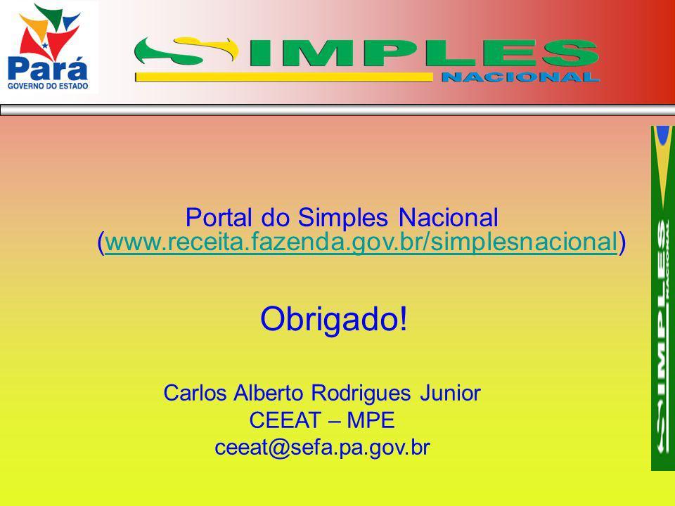 Portal do Simples Nacional (www.receita.fazenda.gov.br/simplesnacional)www.receita.fazenda.gov.br/simplesnacional Obrigado! Carlos Alberto Rodrigues J