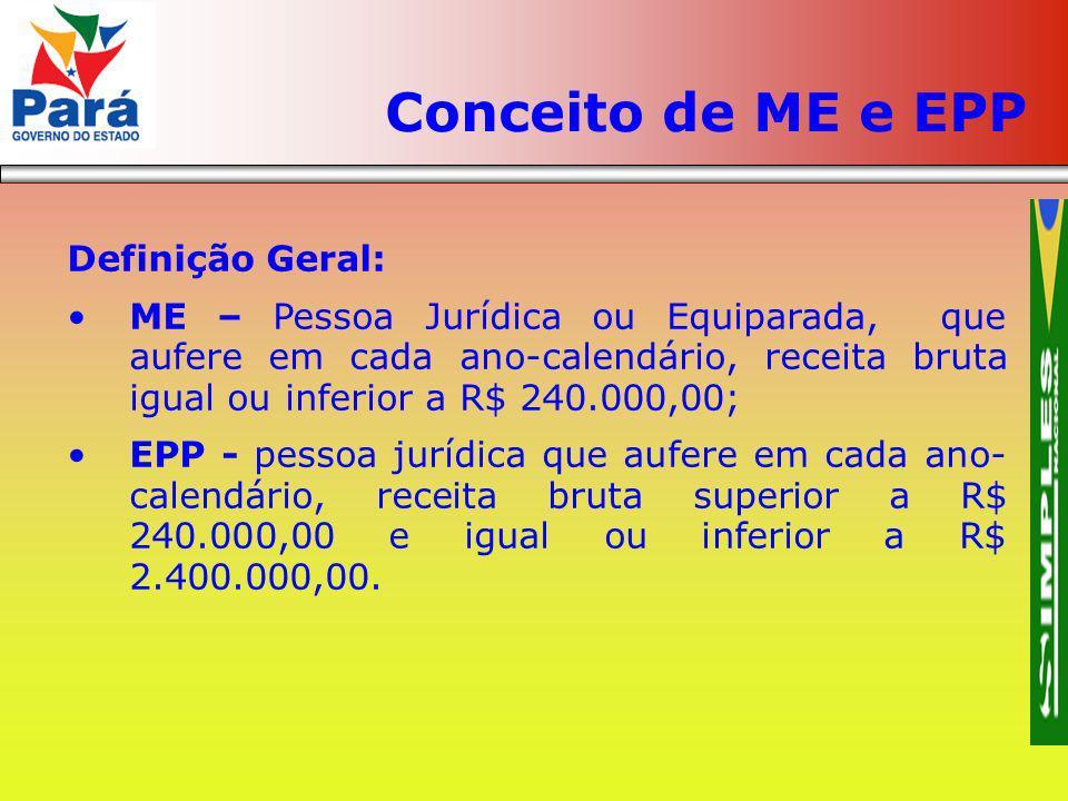 Definição Geral: ME – Pessoa Jurídica ou Equiparada, que aufere em cada ano-calendário, receita bruta igual ou inferior a R$ 240.000,00; EPP - pessoa