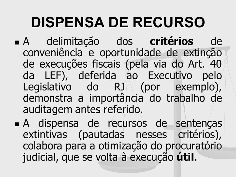 DISPENSA DE RECURSO A delimitação dos critérios de conveniência e oportunidade de extinção de execuções fiscais (pela via do Art. 40 da LEF), deferida