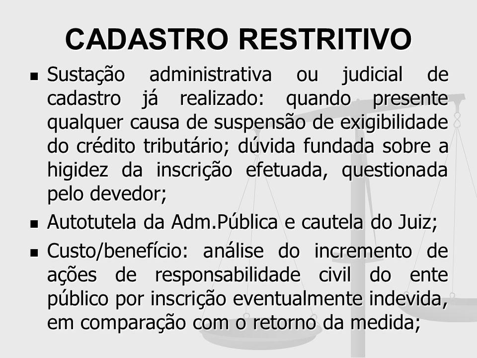 CADASTRO RESTRITIVO Sustação administrativa ou judicial de cadastro já realizado: quando presente qualquer causa de suspensão de exigibilidade do créd