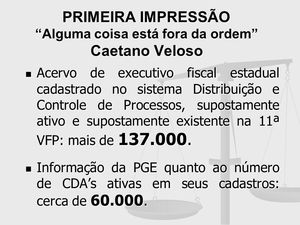 PRIMEIRA IMPRESSÃO Alguma coisa está fora da ordem Caetano Veloso Acervo de executivo fiscal estadual cadastrado no sistema Distribuição e Controle de