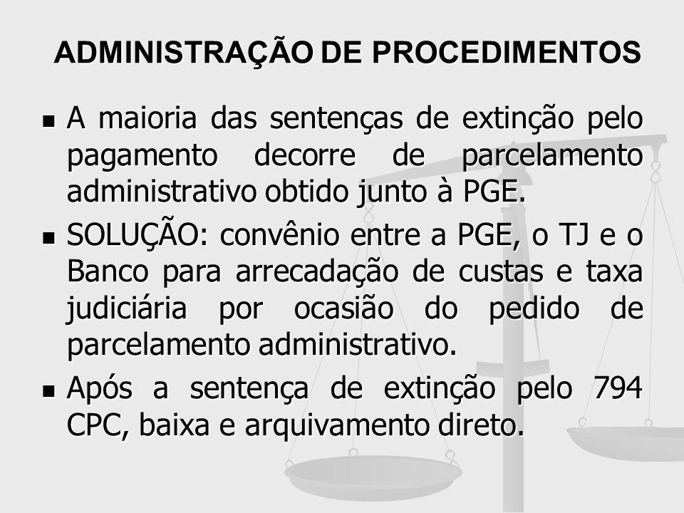 ADMINISTRAÇÃO DE PROCEDIMENTOS A maioria das sentenças de extinção pelo pagamento decorre de parcelamento administrativo obtido junto à PGE. A maioria