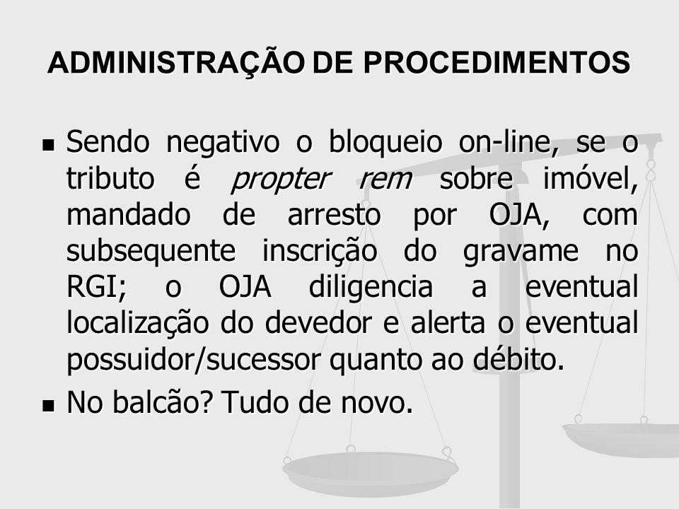 ADMINISTRAÇÃO DE PROCEDIMENTOS Sendo negativo o bloqueio on-line, se o tributo é propter rem sobre imóvel, mandado de arresto por OJA, com subsequente