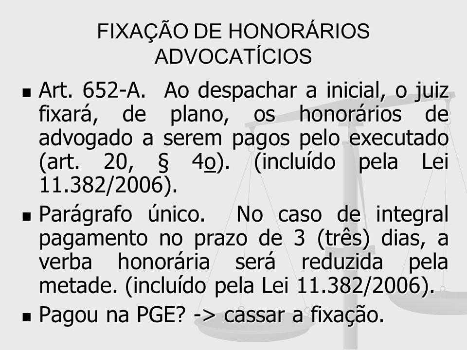 FIXAÇÃO DE HONORÁRIOS ADVOCATÍCIOS Art. 652-A. Ao despachar a inicial, o juiz fixará, de plano, os honorários de advogado a serem pagos pelo executado