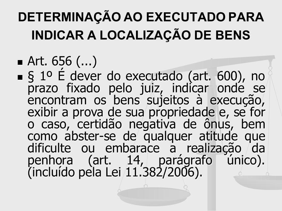 DETERMINAÇÃO AO EXECUTADO PARA INDICAR A LOCALIZAÇÃO DE BENS Art. 656 (...) Art. 656 (...) § 1º É dever do executado (art. 600), no prazo fixado pelo