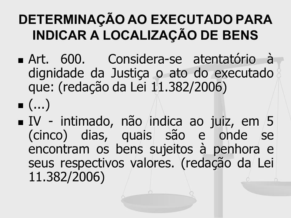 DETERMINAÇÃO AO EXECUTADO PARA INDICAR A LOCALIZAÇÃO DE BENS Art. 600. Considera-se atentatório à dignidade da Justiça o ato do executado que: (redaçã
