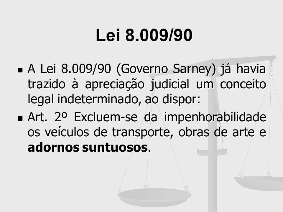Lei 8.009/90 A Lei 8.009/90 (Governo Sarney) já havia trazido à apreciação judicial um conceito legal indeterminado, ao dispor: A Lei 8.009/90 (Govern