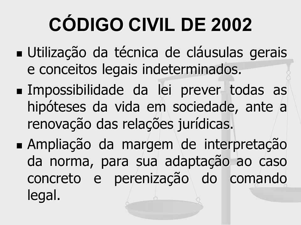 CÓDIGO CIVIL DE 2002 Utilização da técnica de cláusulas gerais e conceitos legais indeterminados. Utilização da técnica de cláusulas gerais e conceito