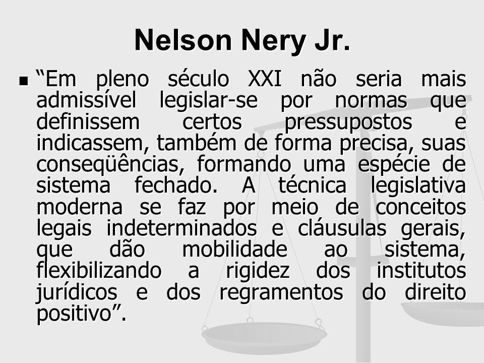 Nelson Nery Jr. Em pleno século XXI não seria mais admissível legislar-se por normas que definissem certos pressupostos e indicassem, também de forma