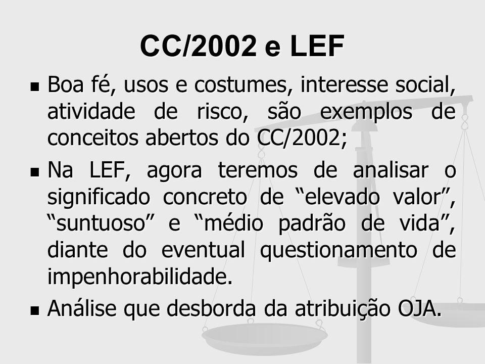 CC/2002 e LEF Boa fé, usos e costumes, interesse social, atividade de risco, são exemplos de conceitos abertos do CC/2002; Boa fé, usos e costumes, in