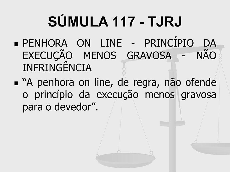 SÚMULA 117 - TJRJ PENHORA ON LINE - PRINCÍPIO DA EXECUÇÃO MENOS GRAVOSA - NÃO INFRINGÊNCIA PENHORA ON LINE - PRINCÍPIO DA EXECUÇÃO MENOS GRAVOSA - NÃO
