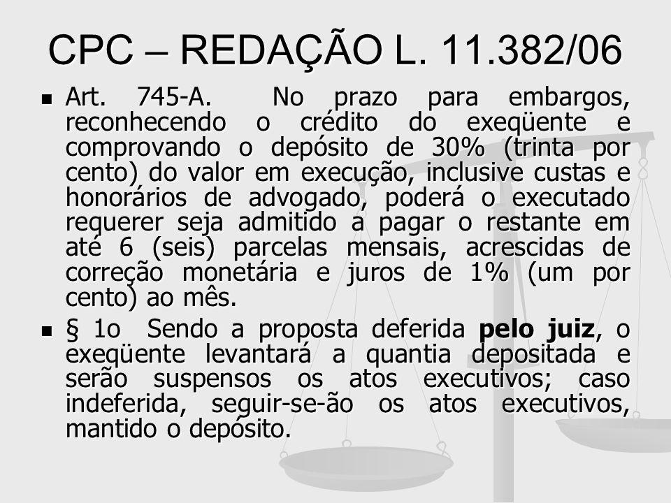 CPC – REDAÇÃO L. 11.382/06 Art. 745-A. No prazo para embargos, reconhecendo o crédito do exeqüente e comprovando o depósito de 30% (trinta por cento)