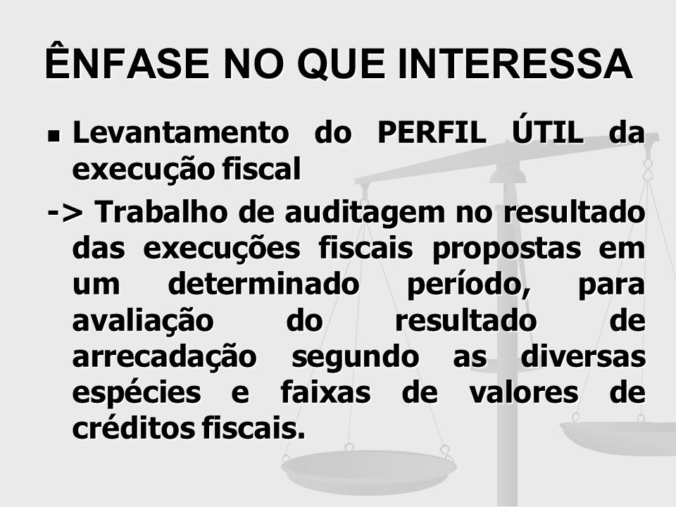 ÊNFASE NO QUE INTERESSA Levantamento do PERFIL ÚTIL da execução fiscal Levantamento do PERFIL ÚTIL da execução fiscal -> Trabalho de auditagem no resu