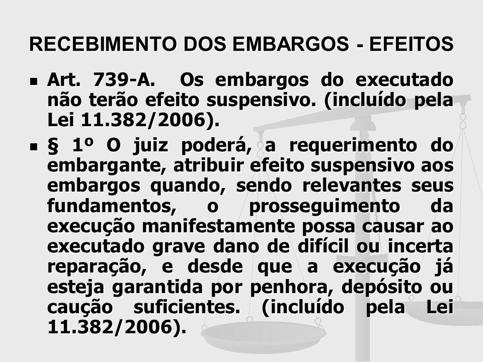 RECEBIMENTO DOS EMBARGOS - EFEITOS Art. 739-A. Os embargos do executado não terão efeito suspensivo. (incluído pela Lei 11.382/2006). Art. 739-A. Os e