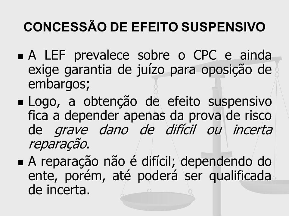 CONCESSÃO DE EFEITO SUSPENSIVO A LEF prevalece sobre o CPC e ainda exige garantia de juízo para oposição de embargos; A LEF prevalece sobre o CPC e ai