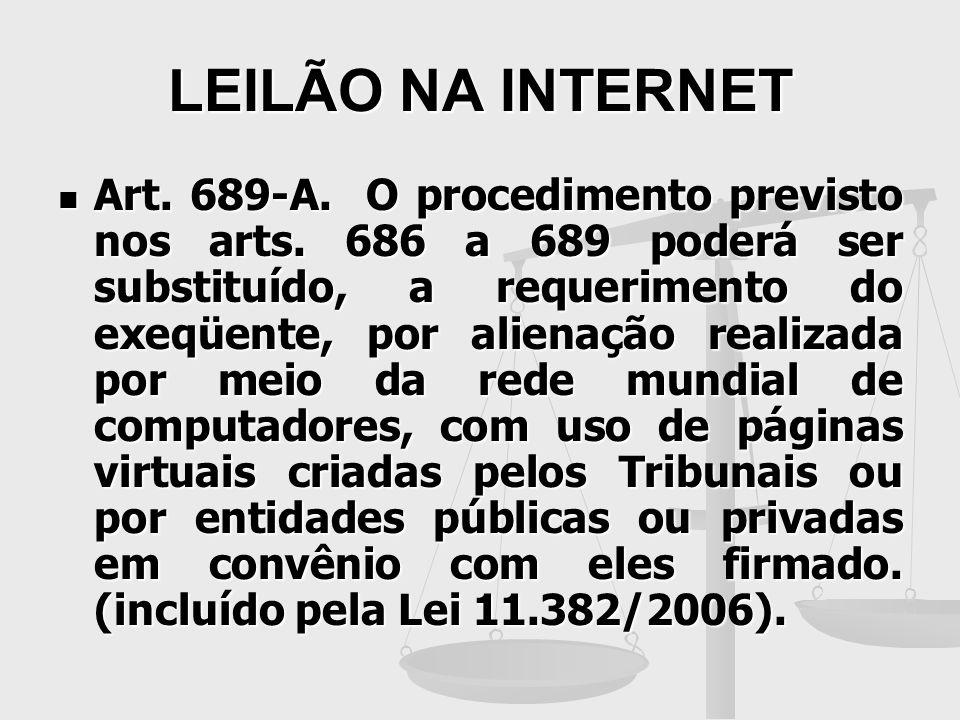 LEILÃO NA INTERNET Art. 689-A. O procedimento previsto nos arts. 686 a 689 poderá ser substituído, a requerimento do exeqüente, por alienação realizad