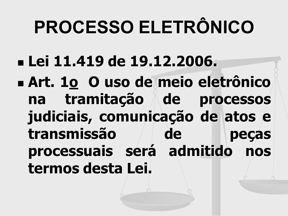 PROCESSO ELETRÔNICO Lei 11.419 de 19.12.2006. Lei 11.419 de 19.12.2006. Art. 1o O uso de meio eletrônico na tramitação de processos judiciais, comunic
