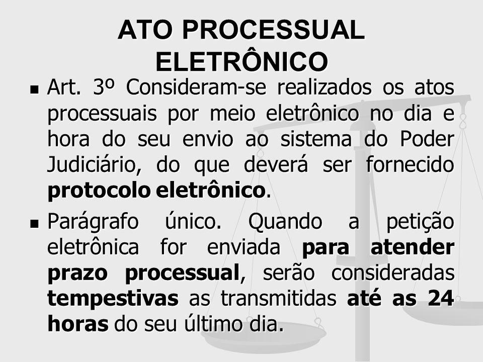 ATO PROCESSUAL ELETRÔNICO Art. 3º Consideram-se realizados os atos processuais por meio eletrônico no dia e hora do seu envio ao sistema do Poder Judi