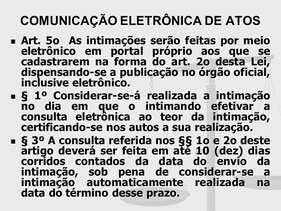 COMUNICAÇÃO ELETRÔNICA DE ATOS Art. 5o As intimações serão feitas por meio eletrônico em portal próprio aos que se cadastrarem na forma do art. 2o des