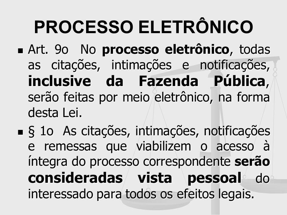 PROCESSO ELETRÔNICO Art. 9o No processo eletrônico, todas as citações, intimações e notificações, inclusive da Fazenda Pública, serão feitas por meio