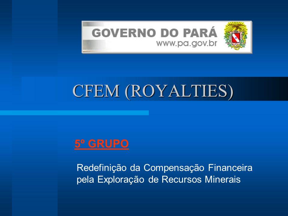 CFEM (ROYALTIES) CFEM (ROYALTIES) Redefinição da Compensação Financeira pela Exploração de Recursos Minerais 5º GRUPO