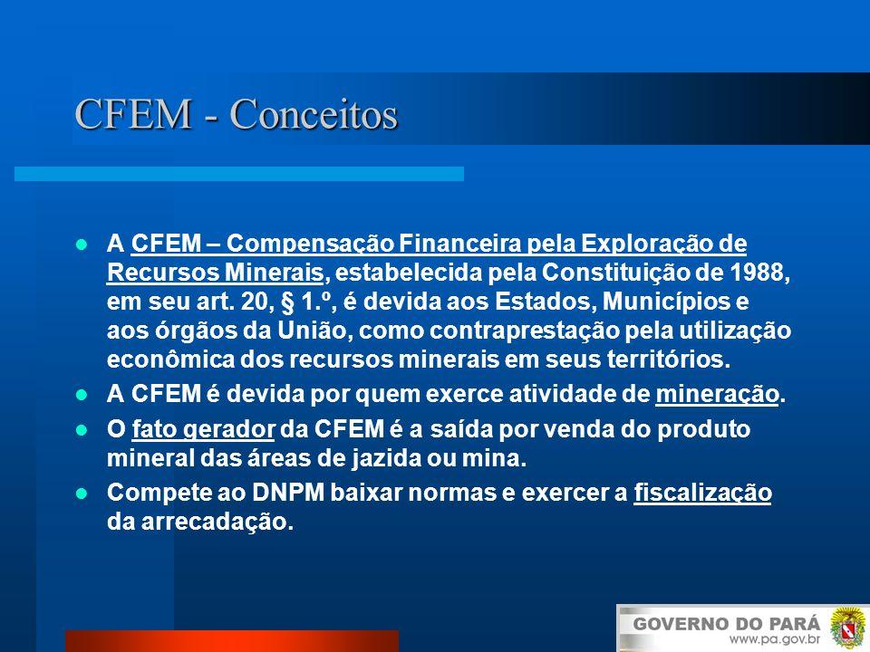 CFEM - Conceitos A CFEM – Compensação Financeira pela Exploração de Recursos Minerais, estabelecida pela Constituição de 1988, em seu art. 20, § 1.º,