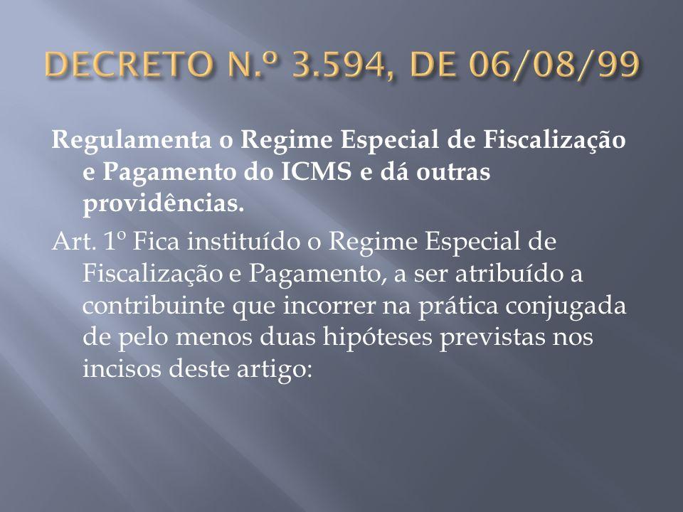 Regulamenta o Regime Especial de Fiscalização e Pagamento do ICMS e dá outras providências. Art. 1º Fica instituído o Regime Especial de Fiscalização