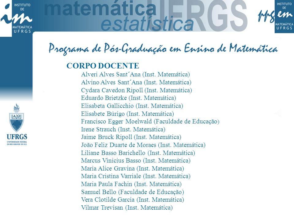 CORPO DOCENTE Alveri Alves Sant´Ana (Inst. Matemática) Alvino Alves Sant´Ana (Inst. Matemática) Cydara Cavedon Ripoll (Inst. Matemática) Eduardo Briet