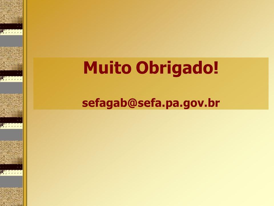 Muito Obrigado! sefagab@sefa.pa.gov.br