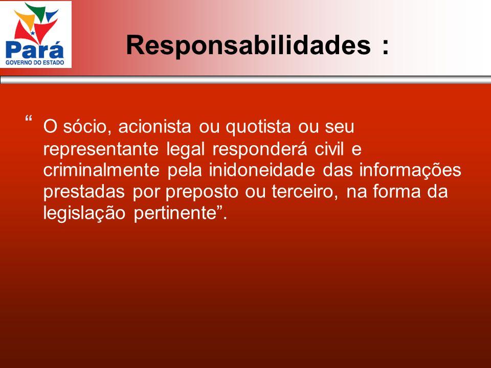 Responsabilidades : O sócio, acionista ou quotista ou seu representante legal responderá civil e criminalmente pela inidoneidade das informações prest
