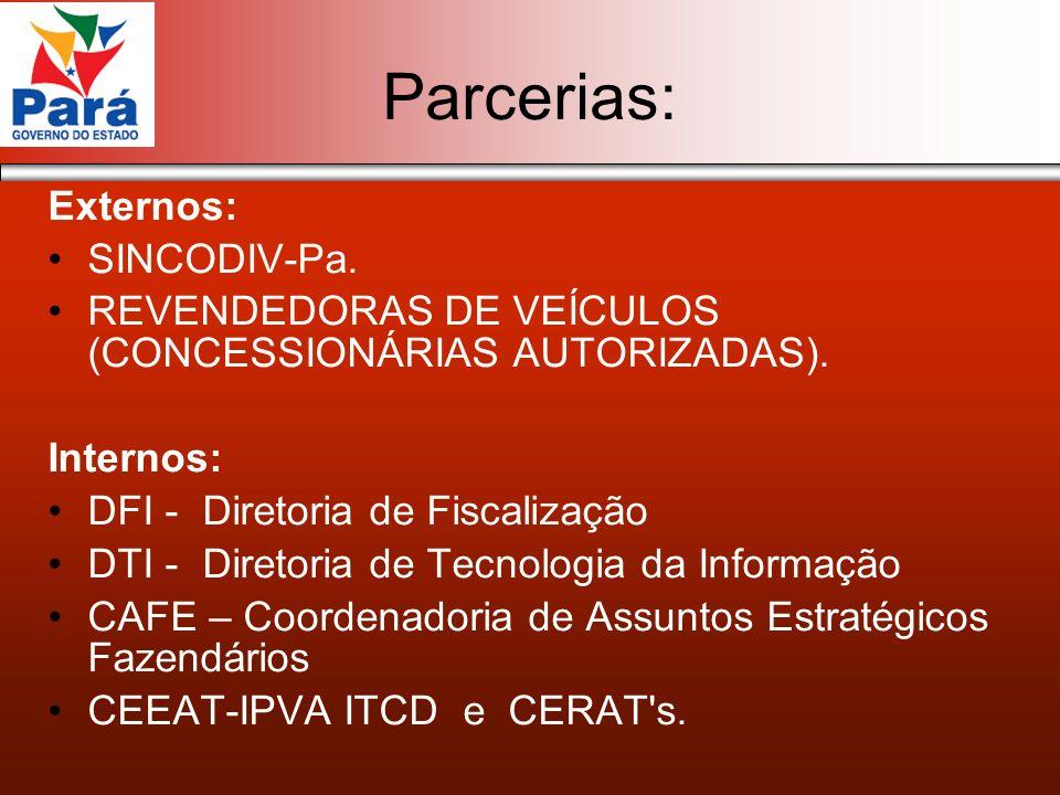 Parcerias: Externos: SINCODIV-Pa. REVENDEDORAS DE VEÍCULOS (CONCESSIONÁRIAS AUTORIZADAS). Internos: DFI - Diretoria de Fiscalização DTI - Diretoria de