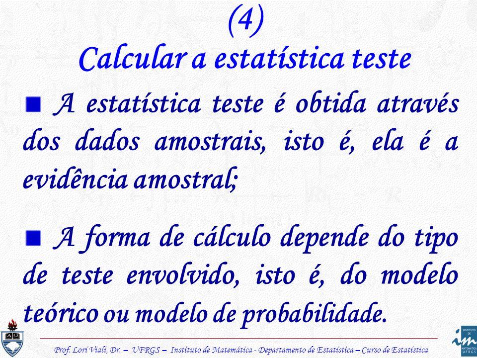 Prof. Lorí Viali, Dr. – UFRGS – Instituto de Matemática - Departamento de Estatística – Curso de Estatística (4) Calcular a estatística teste A estatí