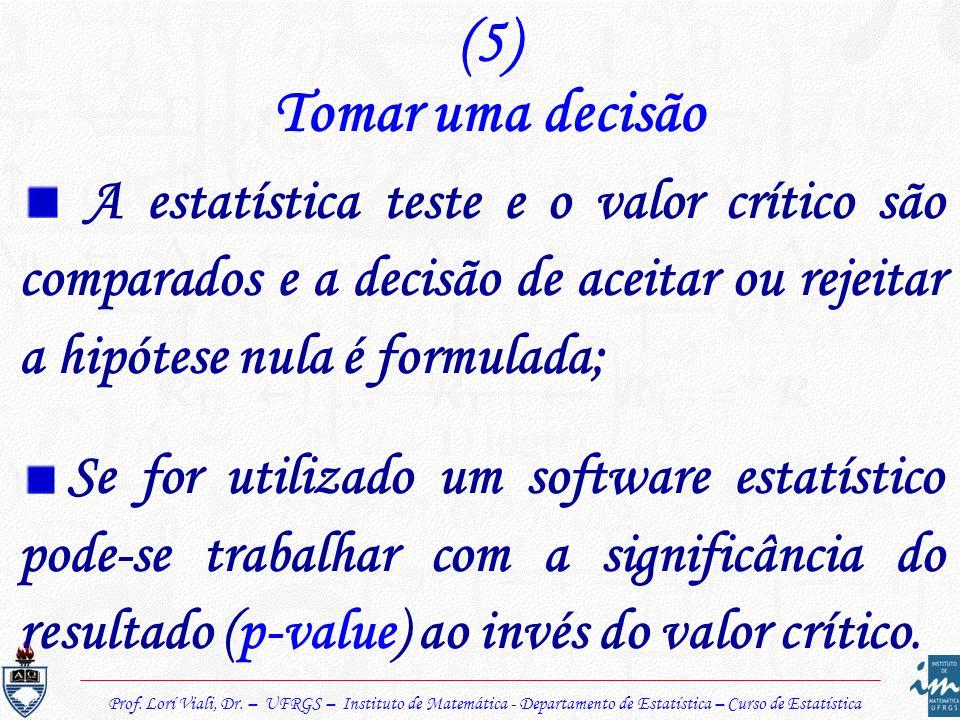 Prof. Lorí Viali, Dr. – UFRGS – Instituto de Matemática - Departamento de Estatística – Curso de Estatística (5) Tomar uma decisão A estatística teste