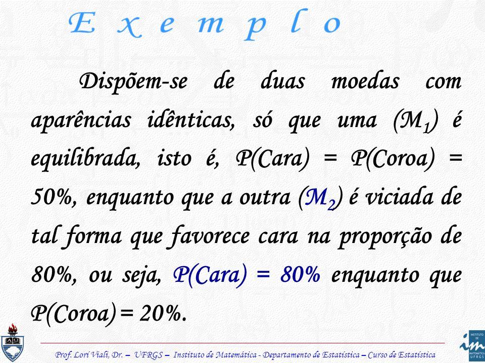 Dispõem-se de duas moedas com aparências idênticas, só que uma (M 1 ) é equilibrada, isto é, P(Cara) = P(Coroa) = 50%, enquanto que a outra (M 2 ) é v