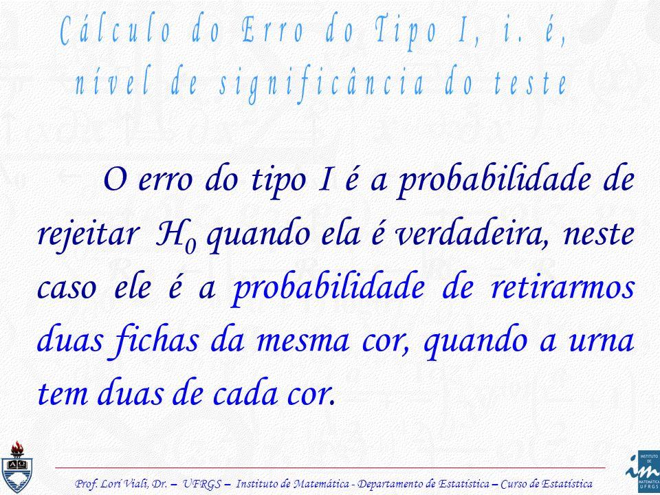 Prof. Lorí Viali, Dr. – UFRGS – Instituto de Matemática - Departamento de Estatística – Curso de Estatística O erro do tipo I é a probabilidade de rej
